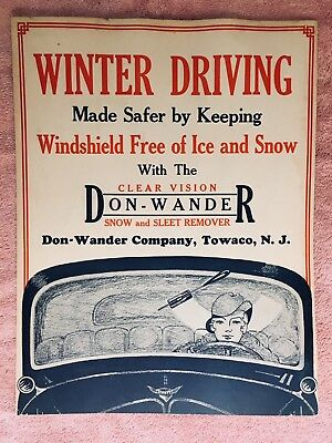 1930s Automobile snow & sleet wiper by DonWander, original poster great graphics