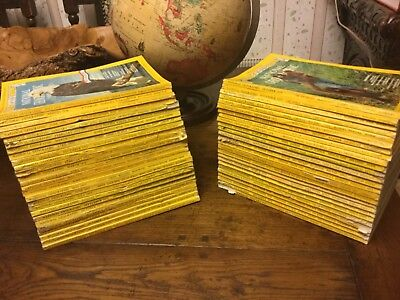 National Geographic Magazines 1970s -  set of 50 magazines project collage.