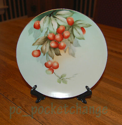 "Vienna Austria Hand-Painted Cherries on Green ~ Decorative 8"" Wall Plate"