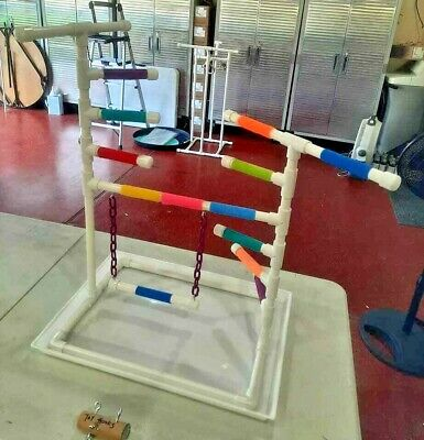 """Custom 3/4"""" PVC Parrot Perch Fun GymStand with LADDER, PAN and SWING!"""