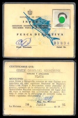 Cuba sport fishing license issued by the INDER, 1991