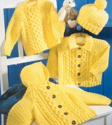 Cable Knitting Pattern 8 Ply BABY / Children  SWEATER HOODED Jackets Hats
