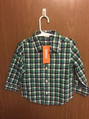 NWT BOYS SIZE 18 24 MONTHS GYMBOREE BUTTON UP SHIRT GREEN BLUE  NEW $30 Value