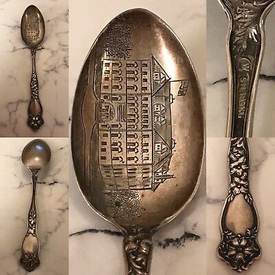 Antique Sterling Silver Of A  House Souvenir Spoon
