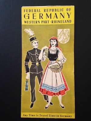 Vintage Fold-Out Travel Map West Germany Rhineland 1950s