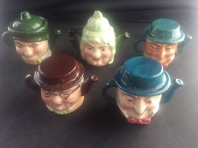 Collection 5 Miniature Lidded Teapot Toby Jugs Charles Dickens Characters 2Sided
