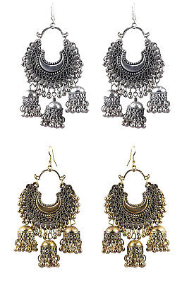 Jwellmart Indian Afghani Style Lightweight Oxidized Fashion Jhumka Earrings