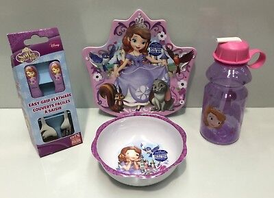 Sofia The First Kids Melamine Dinner Plate / Bowl / Cutlery / Drink Bottle