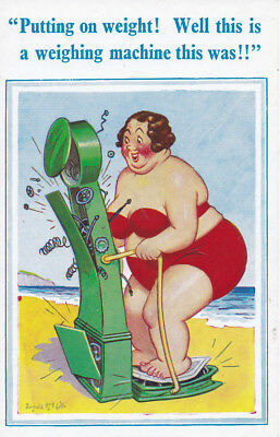 "VINTAGE UK SAUCY COMIC D Constance Ltd Donald McGill. # 2240 ""Weighing machine"""