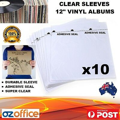 "10 x Vinyl Record Album Plastic Sleeves with Adhesive Seal 12"" LP Record Cover"