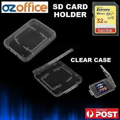 1 x SD Card Holder Clear Case Hard Plastic SDHC Memory Card Storage Case