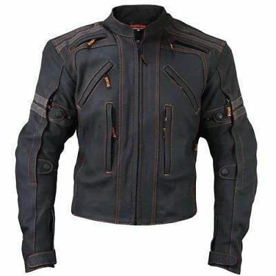 Vulcan Mens VTZ-910 Street Motorcycle Armored Leather Jacket Genuine Leather 159