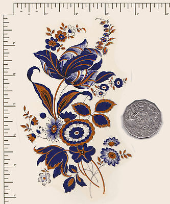 """1 x Waterslide ceramic decal Blue oriental flower with Gold  6"""" x 3 1/2 PD903"""
