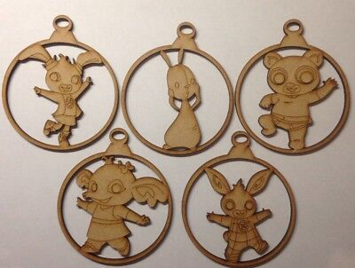 Bing Bunny set baubles christmas tree Characters 3mm thick Mdf Laser Cut Craft