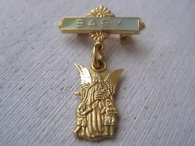"Vintage Chapel Sterling Vermeil Blue Enamel ""BABY"" Guardian Angel Pin"