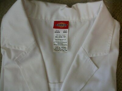 Dickies EDS 83403 Unisex XS Extra Small White Lab Coat Medical Uniforms Scrubs