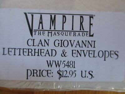 Vampire the Masquerade Clan Giovanni Letterhead & Envelopes New and sealed pack