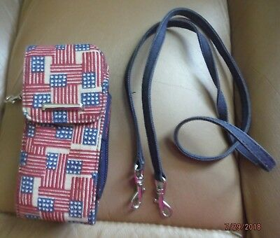 Longaberger Old Glory Red, White & Blue Wallet with cell phone case
