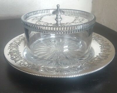 Beautiful SILVER PLATED Engraved Butter Preserve Glass Dish RARE *VG Condition*
