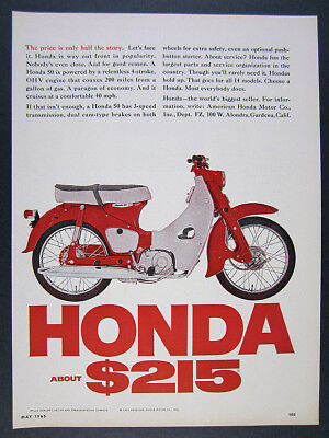 1965 Honda 50 Motorcycle red cycle color photo vintage print Ad