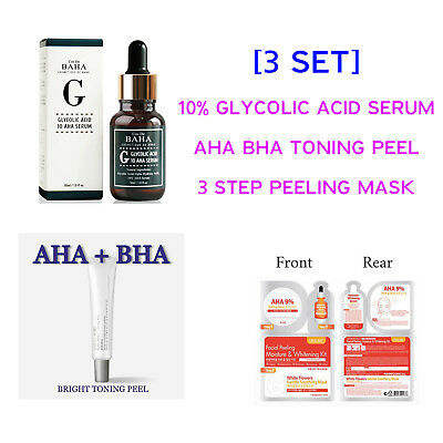 3 PCS Korean Skin Care 10% Glycolic Acid Face SERUM Peeling Mask AHA BHA Peeling