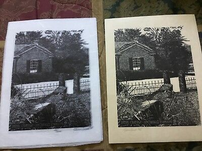 Jack Daniels woodcut print of Bethel Cemetary signed by artist