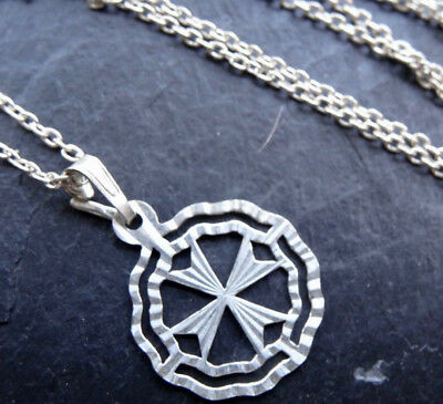 vintage 925 STERLING SILVER star cross pendant chain necklace  -R146