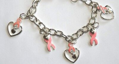 Breast Cancer Awareness -Hope Heart Power Of Pink  Bracelet Silver Tone (1C)
