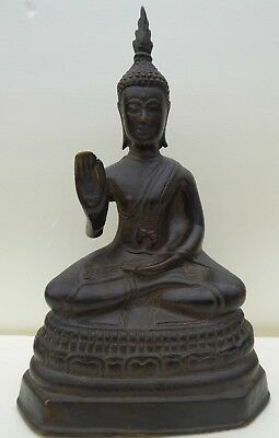 THAILAND: Old thai bronze Buddha figurine antique  SAKYAMUNI MEDICINE