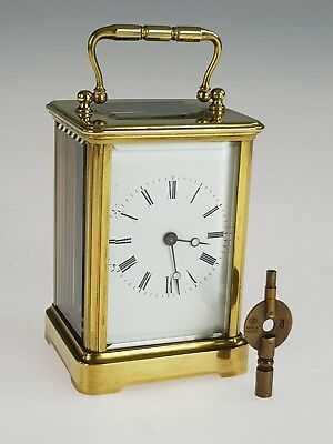 Antique French Carriage Timepiece/ Mantel Brass In Lacquered Working Order (B)