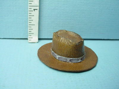 Miniature Cowboy Hat Brown leather Handcrafted Prestige Leather 1 12th Scale 3fc995096fa1