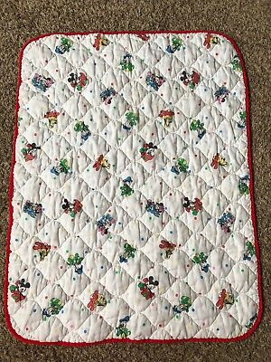 Vintage 80s Disney Baby Mickey Mouse Minnie Crib Blanket Quilt Comforter Dundee