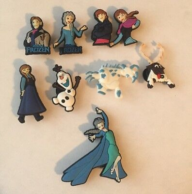 Disney FROZEN shoe charm set Cake Topper/Hair BowsTop/PartyGift (Set Of 9) 🇺🇸
