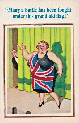 "Risque Donald McGill No 455 ""Large lady with Union Jack flag around her"" theme"