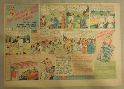 Nabisco Cereal Ad: Coach Stanley Wilson's Sports Secrets ! Shredded Wheat 1930's