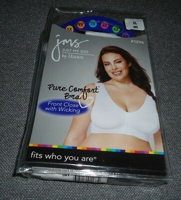 New JMS Just My Size Pure Comfort Bra White  Xl Xlarge 1274 Front closure