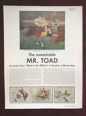 1949 Vintage Magazine Disney Movie Article ~ Adventures of Mr Toad ~ Cell Images