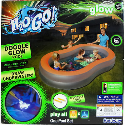 H2OGo! Glow in the Dark Swimming Pool - Doodle Glow - Kids Family Water