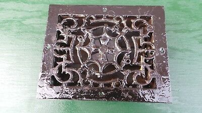 Vintage VICTORIAN Cast Iron Floor Grille 7x5 Heat Grate Register with Louvers