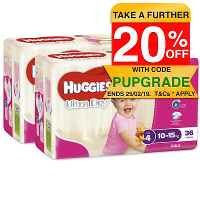 Huggies 72PK Ultra Dry Nappies/Nappy/Diaper Kids/Toddler/Girls 10-15kg Size 4