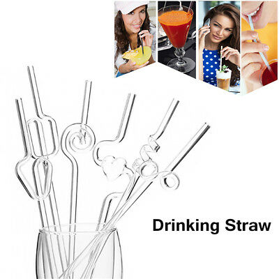 Reusable Straight Pyrex Glass Drinking Straw for Wedding Birthday Party 5Colo Pp