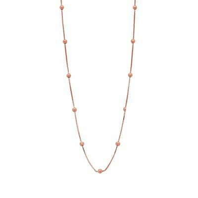 Bevilles 9ct Rose Gold Silver Infused Chain And Ball Necklace 50cm