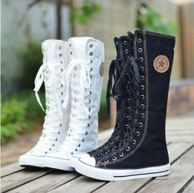 Punk Women Girl Canvas Sneaker Lace Up Zip Knee High Boots Casual Flat Shoes SZ