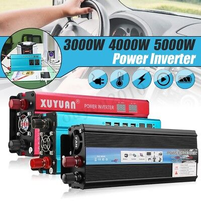 3000W-5000W Car Power Inverter 12/24V to 110/220V Modified Sine Wave Converter