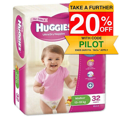 Huggies 32PK Ultra Dry Nappies/Nappy/Diaper Toddler/Walker Girls 13-18kg Size 5