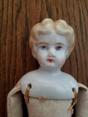 """Antique China Doll Blonde Low Brow Blue Eyes 10"""" Cloth Body 2 G"""