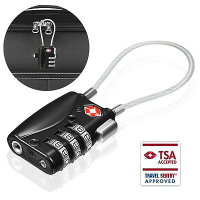 TSA-Approved Combination Luggage Lock With Steel Cable, Anti-Theft, Zinc Alloy