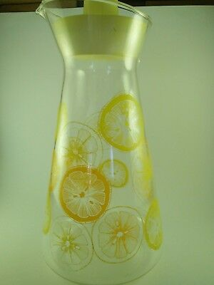 Retro Vintage Pyrex lidded Jug with Orange and Lemon Design.Retro Glass Pyrex