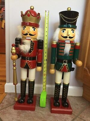 """2  X-Large Wooden Guard Nutcrackers Christmas Figures- 23 1/2"""""""