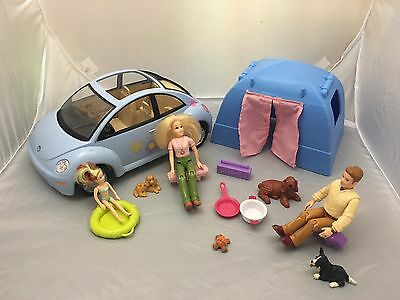 Fisher Price Loving Family Car,Tent,Mom,Dad.Polly Pocket Girl,Barbie Accessories